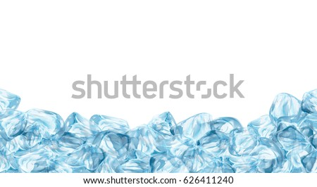 ice cubes  realistic set  3d