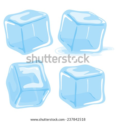 ice cubes vector set on white