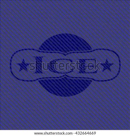 Ice emblem with denim high quality background