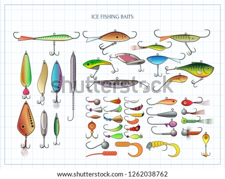 Ice fishing baits collection - jigs and jig heads, metal jigging spoons, balanced fish-profile lures and other vertical lures - big set of fishing devices. Outline color  vector illustration