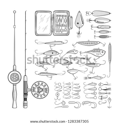 Ice fishing gear collection - jigs and jig heads, metal jigging spoons, balanced fish-profile lures, storage, rod and combo - big set of fishing devices. Outline black and white vector illustration