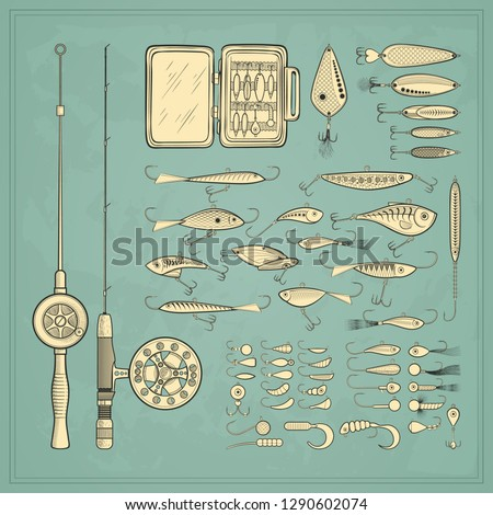 Ice fishing gear collection - jigs and jig heads, metal jigging spoons, balanced fish-profile lures, storage, rod and combo - big set of fishing devices. Vintage vector illustration.