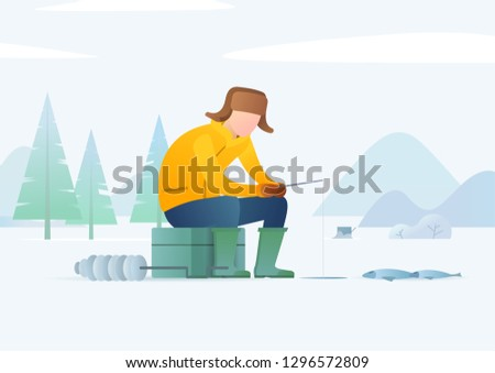 ice fishing man fishing on a