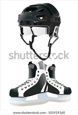 ice-hockey accessories - stock vector