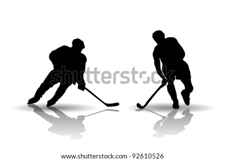 Ice Hockey and Field Hockey Players Silhouettes - stock vector