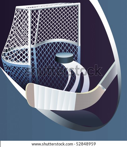 Ice hockey background with detailed goal. Vector illustration.
