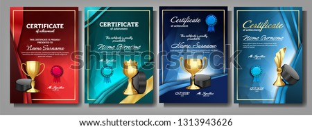 Ice Hockey Game Certificate Diploma With Golden Cup Set Vector. Sport Award Template. Achievement Design. Honor Background. Champion. Best Prize. Winner Trophy. Banner Template Illustration