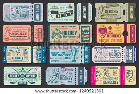 Ice hockey game tickets, sport championship. Vector retro tickets with hockey stick, puck, forwards and goalkeeper helmet on ice rink arena with cutting line