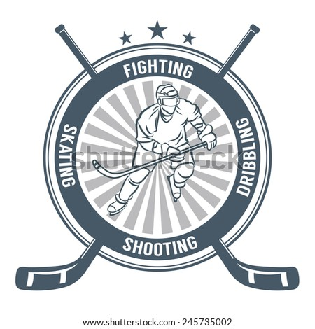 ice hockey labes  badge and