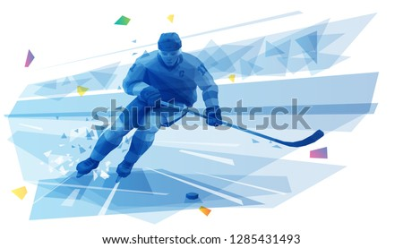 Ice hockey player on the run