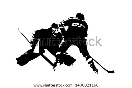 Ice hockey player shoots puck, goalie makes save, abstract isolated vector silhouette