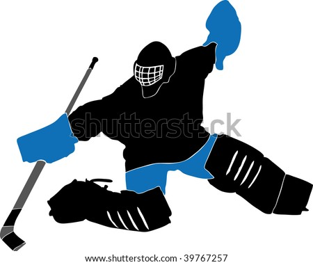 ice hockey player silhouette with racket