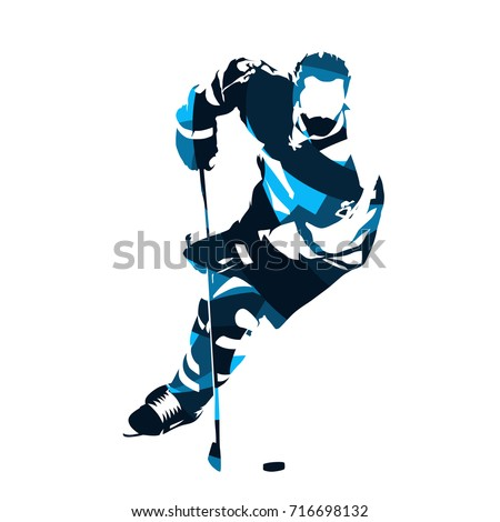Ice hockey player skating with puck, abstract blue vector silhouette