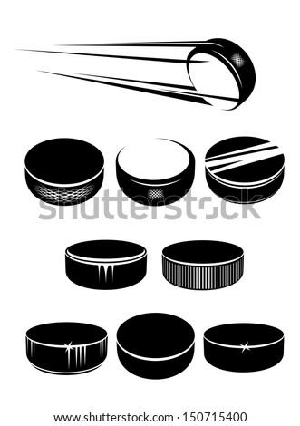 Ice hockey pucks set isolated on white background for sports design or idea of logo. Jpeg version also available in gallery