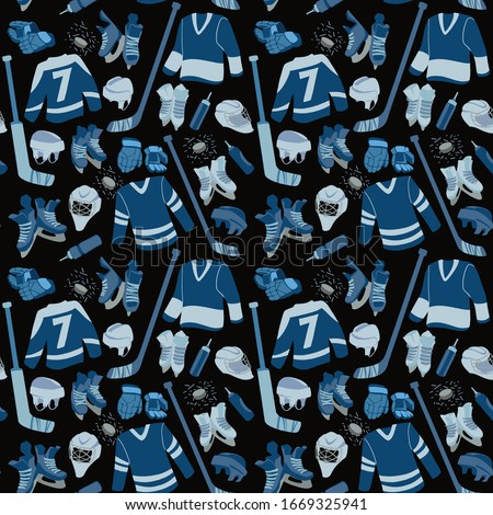 Ice Hockey seamless hand drawn pattern. Puck, equipment of hockey player with hockey-stick. Winter game sport vector flat isolated illustration on dark blue background.