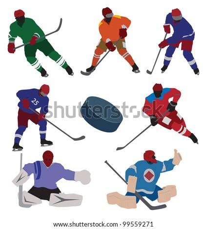 Ice hockey set. Vector