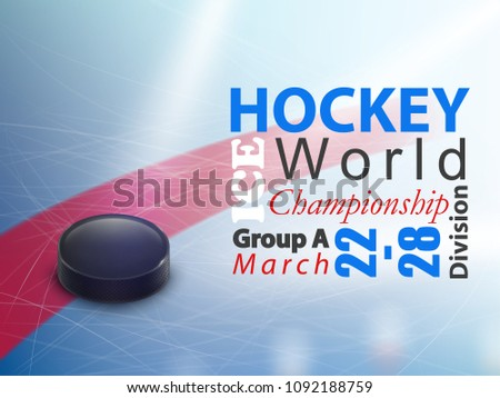 Ice hockey world championship vector horizontal banner. Winter team game on skating rink with black rubber puck and stick. Poster for advertisement of tournament, flyer for sport event announcement