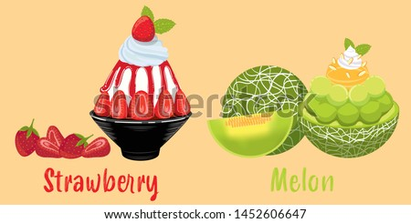 ice milk Korean dessert, strawberry and melon bingsu, sweet dessert set, dessert cafe