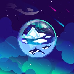 Ice planet with killer whales in Space