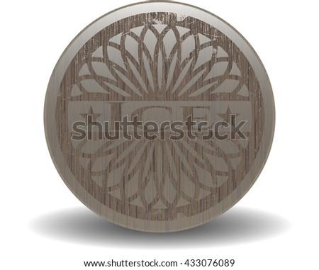 Ice retro style wooden emblem