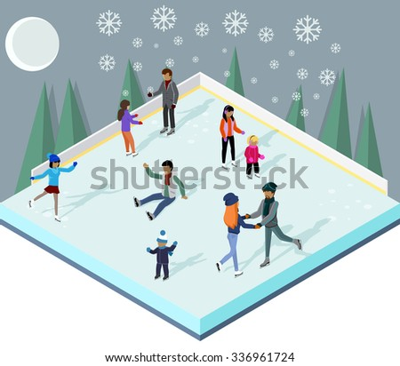 ice rink with people isometric