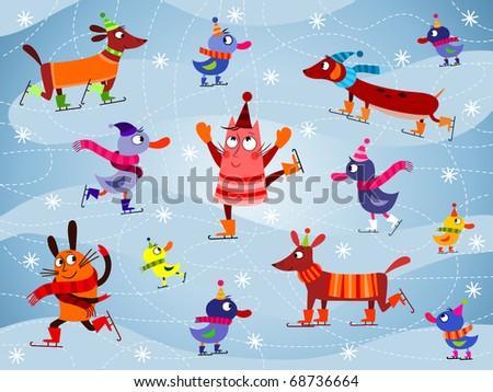 ice skating cartoon animals