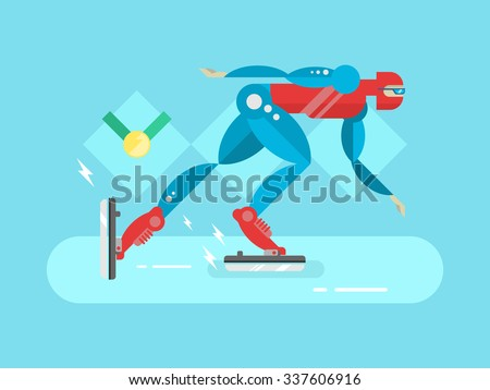ice speed skater cartoon