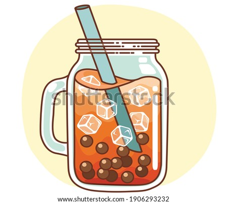 Ice tea with boba beverages hand drawn