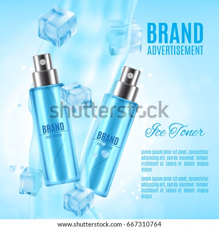 Ice toner ads. Realistic cosmetic spray bottle with ice cubes and water splash on a blue background. Design for ads or magazine. 3d illustration. EPS10 vector #667310764