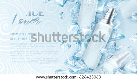 Ice toner ads with blue ice cubes. Silver spray bottle, water drops, cool, refresh, snow. Drawn elements, 3d vector illustration, realistic cosmetics product, white waves background, sparkling effect.