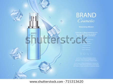 Ice toner ads with ice cubes. Blue spray bottle, water drops, realistic vector illustration, sparkling effect, waves background #715313620