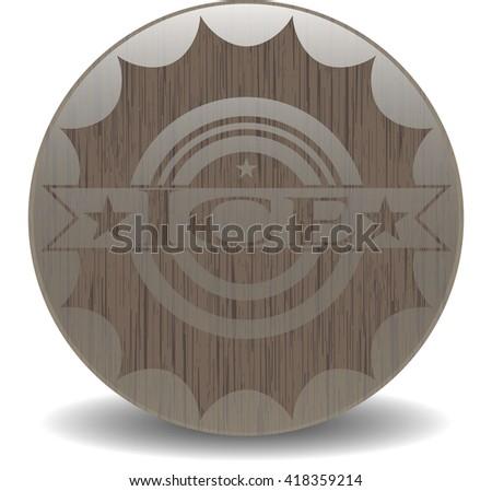 Ice wooden emblem. Vintage.