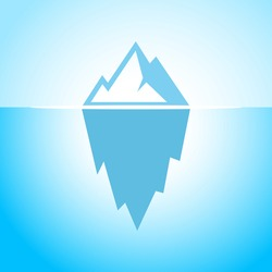 Iceberg in blue water vector eps symbol illustration. Abstract flat web design element for website, app or infographics materials.