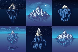 Iceberg in the ocean Set. A large piece of a mountain glacier floating in northern water. Engraved hand drawn vintage sketch for emblem, web logo, banner or t-shirt. Isolated illustration.
