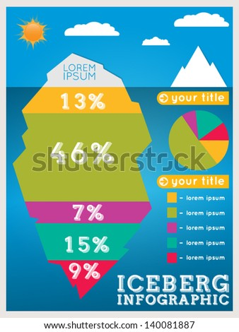 Infographic design on the grey background eps 10 vector file - Iceberg Infographic Template Stock Vector Illustration