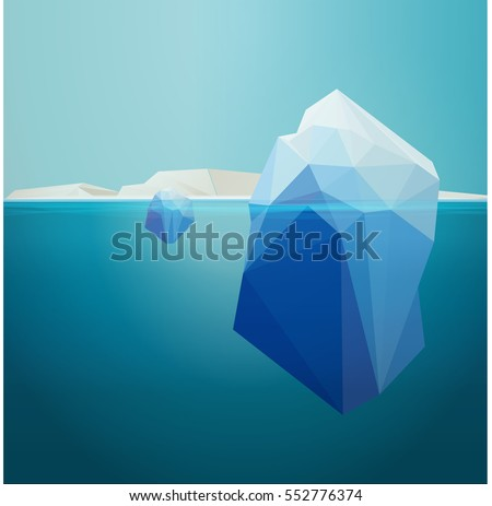 iceberg underwater, background, low poly