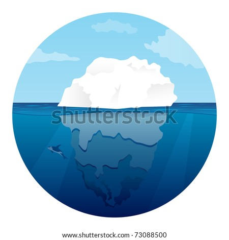 Iceberg with lonely killer whale. Vector illustration.