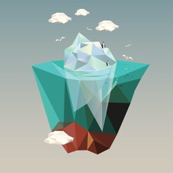 iceberg with penguins  low poly illustration