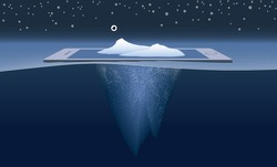 Icebergs, eyeballs, and smart phone, illustrating idea of big data and audiences on mobile devices