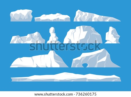 icebergs set on blue background