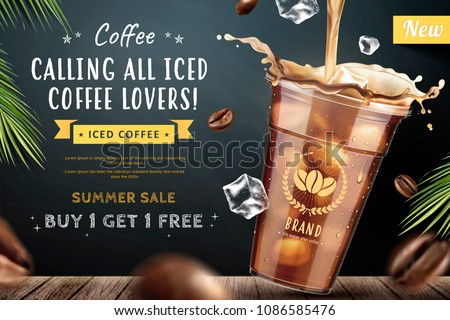 Iced coffee pouring down into a takeaway cup on blackboard background with flying coffee beans in 3d illustration