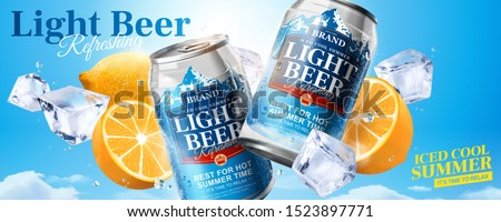Iced cool light beer banner ads with ice cubes and lemon on blue sky background in 3d illustration Foto d'archivio ©