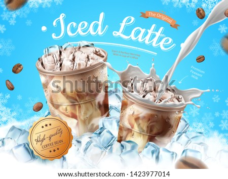 Iced latte ads with ice cubes and snowflakes on blue background in 3d illustration