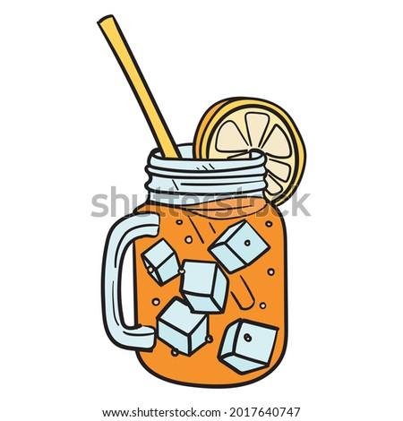iced tea comic drawing with straw and lemon wedge.