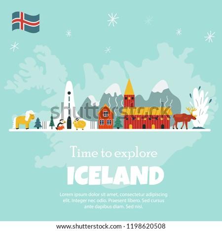 iceland cartoon vector banner