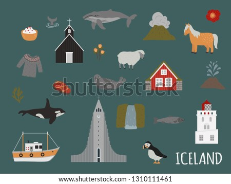 iceland cute objects vector