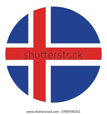 Iceland flag badge vector illustration. Circle Iceland Flag vector national symbol.
