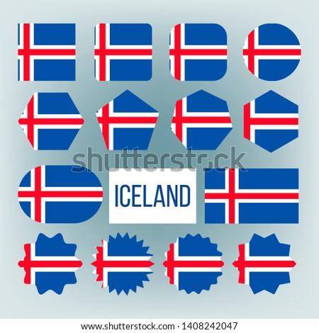 Iceland Flag Collection Figure Icons Set Vector. Blue Field With White-edged Red Cross Extends To Edges, Vertical Part Is Shifted To Hoist Side On National Symbol Of Iceland. Flat Cartoon Illustration