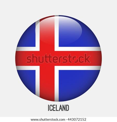 iceland flag in circle shape