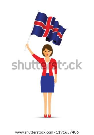 Iceland flag waving woman